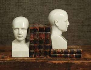 Classic Ceramic Male Phrenology Head Bookend Figure Statue Bust