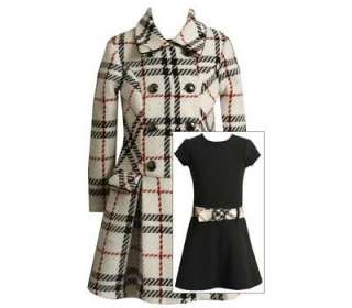Bonnie Jean Girls Ivory Plaid Boucle Holiday Coat & Dress Set 5