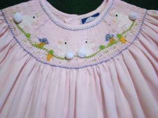 CARRIAGE BOUTIQUES 9M BISHOP SMOCKED PINK EASTER BUNNY DRESS~NWTS