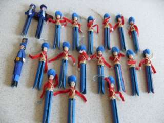 19 CLOTHESPIN MARCHING BAND DRUMMER BOY CHRISTMAS Ornament vtg mailman