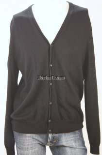 BLACK BUTTON FRONT L/S MERINO WOOL CARDIGAN SWEATER LARGE