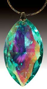Swarovski Green AB Crystal 8745 38mm Cats Eye Marquis Prism Pendant