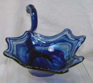 Blue Swirl Glass Swan Art Glass Vase Bowl