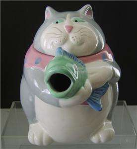 Fitz & Floyd Fat Cat Holding Fish Tea Pot Porcelain Vintage