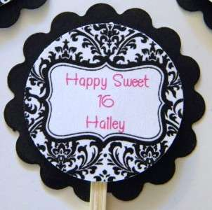 Personalized Damask Cupcake Toppers Favors Party Picks Birthday