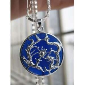 DEEP PSYCHIC BLUE DRAGON & PHOENIX JADE GIFT PENDANT with