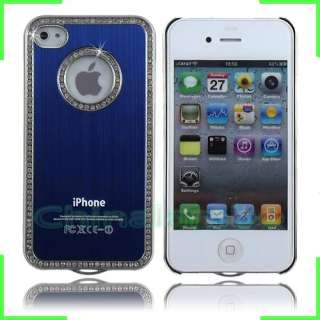 Luxury Brushed Bling Diamond Metal Aluminum Chrome Case Cover For