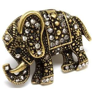 Gold Clear Crystal Large 1.5 Elephant Ring   Adjustable Stretch Band