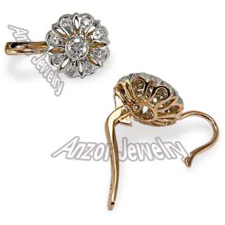 Russian Style Genuine Diamond Earrings in 14k Solid Rose & White Gold