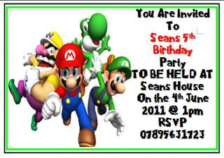 10 Super Mario Bros Luigi Birthday Invitations Invites