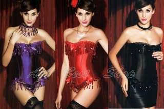 Strapless Corset Fringe Sequin Burlesque Corset Top Red  M