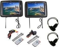 Pair Tview T120PL BK 12 Black TFT Wide Screen Headrest Car Monitors+2