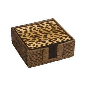 Caspari Rattan Cocktail Napkin Holder with 40 Zanzibar Paper Napkins
