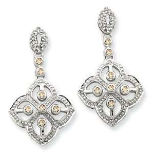 14K White Gold Colored Diamond Earrings Diamond quality AA (I1 clarity