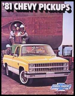 1981 Chevy Chevrolet Pickup Truck Dealer Sales Brochure