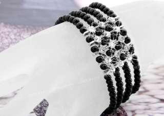 Black Round Crystal Glass Beads Lampwork Bangle 0.16 CHIC