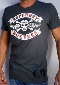 Superdry Mens SKULL RING BIKER Rockers T Shirt NEW