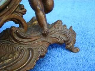Antique New Haven Clock Co., Brass w/ Cherubs Angels 6.5 Tall Clock