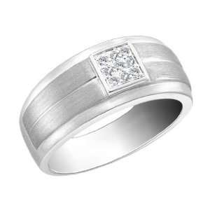 Mens Diamond Wedding Band 1/10 Carat (ctw) in 14K White