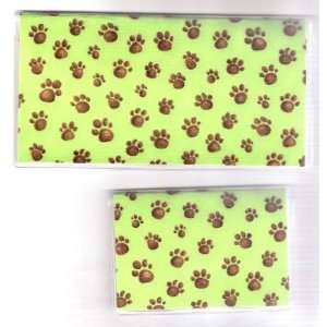 Checkbook Cover Debit Set Made with Puppy Dog Paw Prints