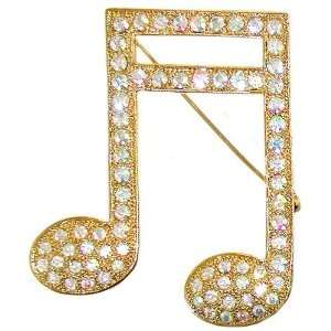 Sixteenth Note Pin In Aurora Borealis with Gold Finish In