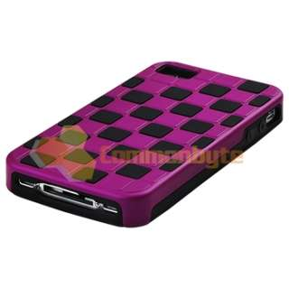 Purple Checkered+Yellow Clear Side Hybrid Hard Case Cover For iPhone 4