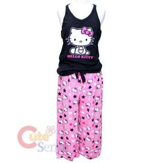 Sanrio Hello Kitty PJ Set Sleepwear Top Capri Pink Pant 2