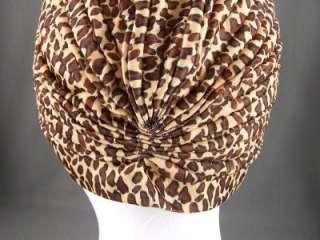 Tan Brown Black cheetah leopard big cat print Hair wrap Turban head
