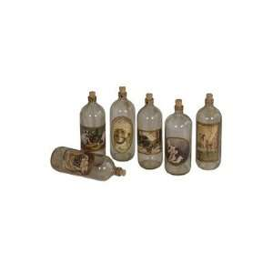 Six Piece Glass Bottles in Natural Aged