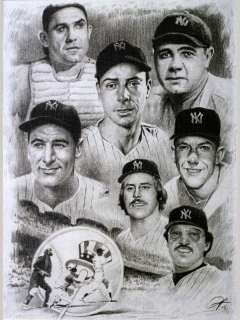 Yankees Players Sketch Portrait Charcoal Pencil Drawing