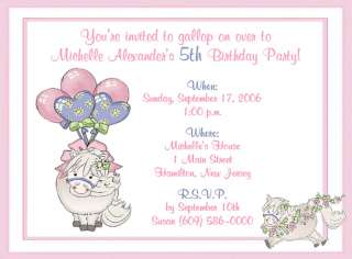 10 ADORABLE PONY CUSTOM BIRTHDAY PARTY INVITATIONS