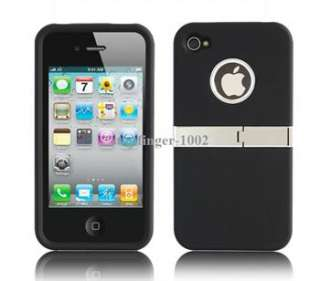 Black 2in1 Deluxe Hard Case Cover W/Chrome With Stand for Apple iPhone