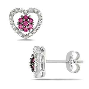 Sterling Silver Created Pink Sapphire Black Spinel and