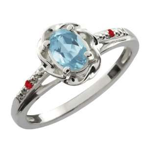 Oval Sky Blue Topaz Red Rhodolite Garnet Sterling Silver Ring Jewelry