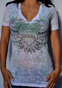 Sinful by Affliction YORK Womans V Neck T Shirt w/ Rhinestones