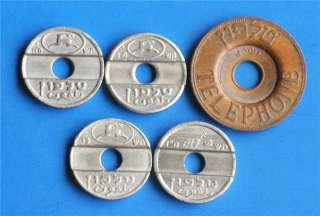 Complete Israel Asimon Coins Set 5 Public Phone Tokens