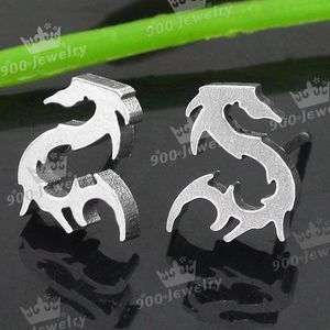 Silvery Stainless Steel Screw Back Dragon Mens Ear Stud Earring