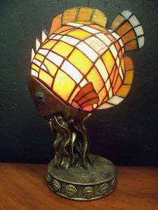 Clown Fish Lamp Night Light Stained Glass 8L 5W 13H |
