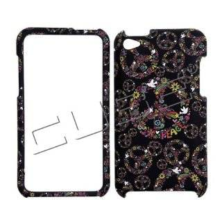 Black with Rainbow Color Peace Sign Flowers Rubber Texture