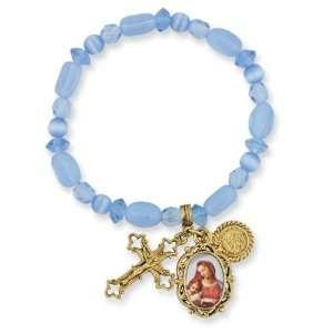 Gold tone Crucifix, Madonna & Child Stretch Bracelet Jewelry