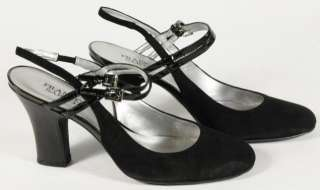 Black Suede Double Buckle Mary Jane Slingback Heels Size 9.5M
