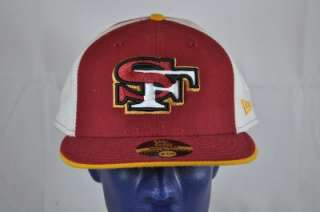 59FIFTY DARK RED GOLD WHITE SAN FRANCISCO 49ERS SF LOGO FITTED CAP