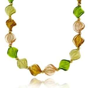 Fall Season Green, Brown, Champagne, and Rose Glass Twisted Foil Bead