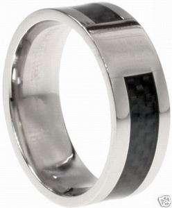 Mens Stainless Steel & Black Carbon Fiber Wedding Band