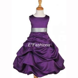 PLUM PURPLE SILVER PAGEANT PARTY BRIDAL FLOWER GIRL DRESS 2 4 6 6X 8