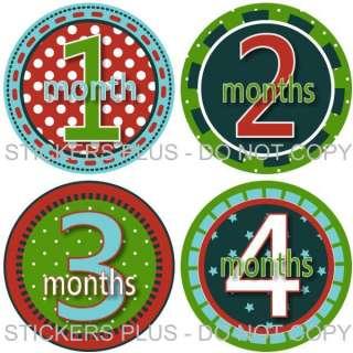 Monthly Onesie Baby Boy Stickers Fun Circles II Dots