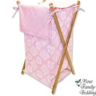 Baby Girl Pink White Damask Crib Nursery Bedding Set