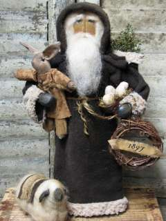 Primitive~ Olde 1897 German Style Santa~ Doll~Easter~sheep~TDIPT