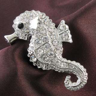 Seahorse Animal Sea Creature Brooch Pin Clear Crystal Stone Costume