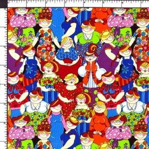 Cartoon Women Best Friends Designer Cotton Sewing Quilting Fabric BTY